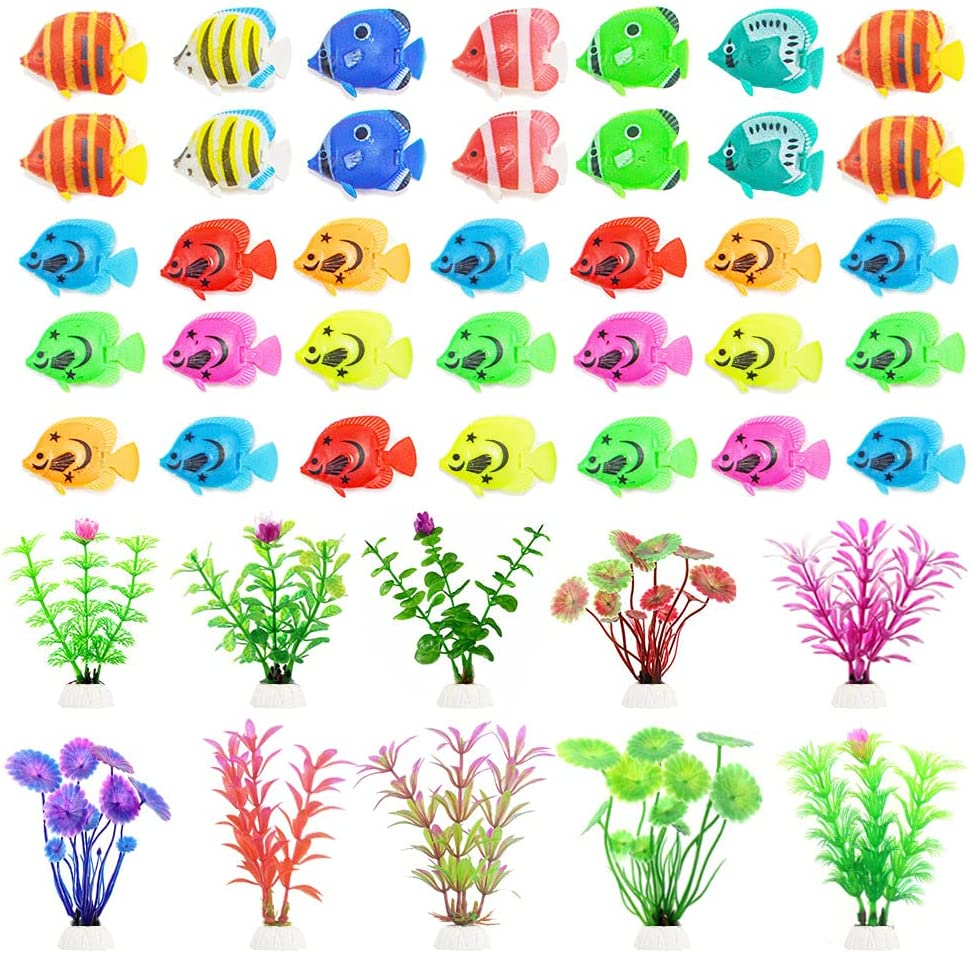 44 Pieces Plastic Fish Artificial Moving Floating Fishes Artificial Aquatic Plants Fake Toy Fish Plastic Small Aquarium Plants Fish Tank Decorations Ornament for Home Office Aquarium Fish Bowl Tank