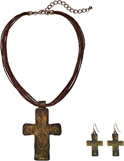 Multi Leather w/ Large Patina Cross Necklace/Earrings Set