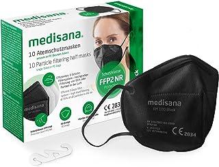 Medisana FFP2 ademmasker zwart/zwart stofmasker ademmasker RM 100, stofmasker mondmasker 10 stuks afzonderlijk verpakt in ...