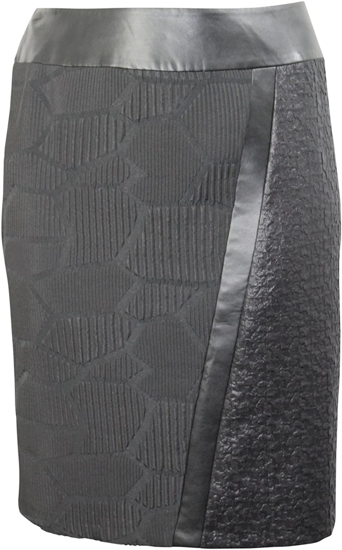 Elena Miro Womens Asymmetrical Textured Skirt Plus Size Black 16,18,20