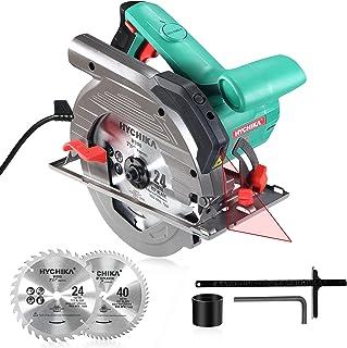 HYCHIKA Sega Circolare 1500W, 4700PRM, 2 lame per sega Ø 190mm (40T&24T), Profondità di taglio massima:65mm(90°), 45mm(4...