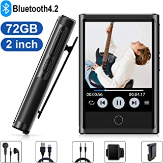 MP3 Player, 72GB MP3 Player with Bluetooth 4.2, 2'' HD Touch Screen Portable Bluetooth MP3 MP4 Player with FM Radio, Recorder, Pedometer, HiFi Lossless MP3 Music Player, Expandable up to 128GB