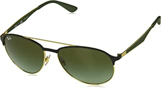 RAY-BAN RB3606 Aviator Sunglasses, Matte Black On Gold/Brown Gradient, 59 mm