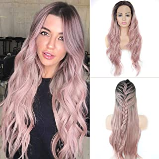 Pink Ombre Lace Front Wig GLAMADOR Long Wavy Synthetic Wigs, Women Heat Resistant Middle Part Wigs, Curly Synthetic Natural Hairline Replacement Wigs for Women Cosplay Halloween- 24 Inch with Wig Cap