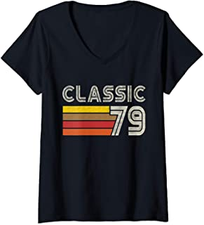 Femme Classic Retro Number 79 - Born 1979 - Turning 79 Birthday T-Shirt avec Col en V