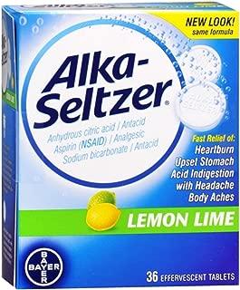Alka-Seltzer Effervescent Tablets Lemon Lime 36 Tablets (Pack of 4)