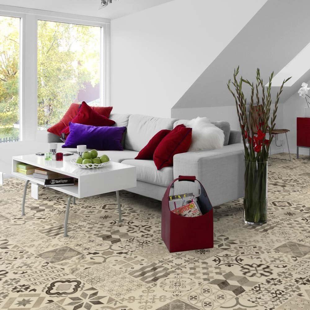 L/änge variabel Meterware livingfloor/® PVC Bodenbelag im Boho Orient Stil Fliesendekor Rot//Grau 2m Breite Gr/ö/ße:3.00x2.00 m