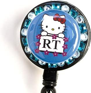 Sizzle City Respiratory Therapist RT logo Flower Lined Hello Kitty Rhinestone Retractable Badge Reel/ ID badge Holder (Blue)