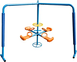 Svitlife Blue/Orange Steel and Plastic Four Station Fun-filled Merry-go-round Fun Four Station Filled Merry Go Round Ironkids Metal Outdoor Kids Blue Orange