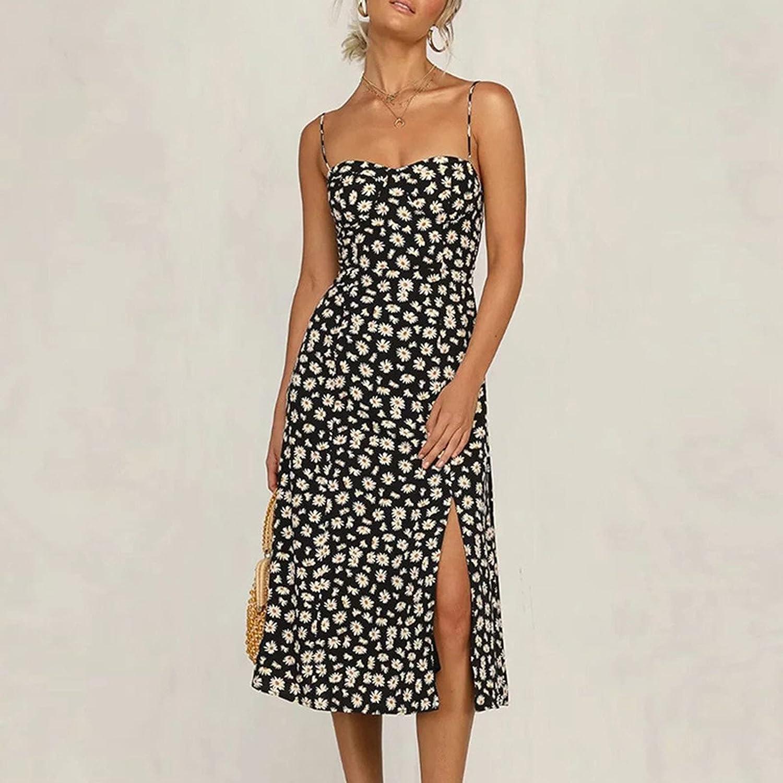 Sun Dresses Women Summer Fashion Casual Flower Printing Slim Beach Halter Straps Dress Suspender Casual Sexy Boho
