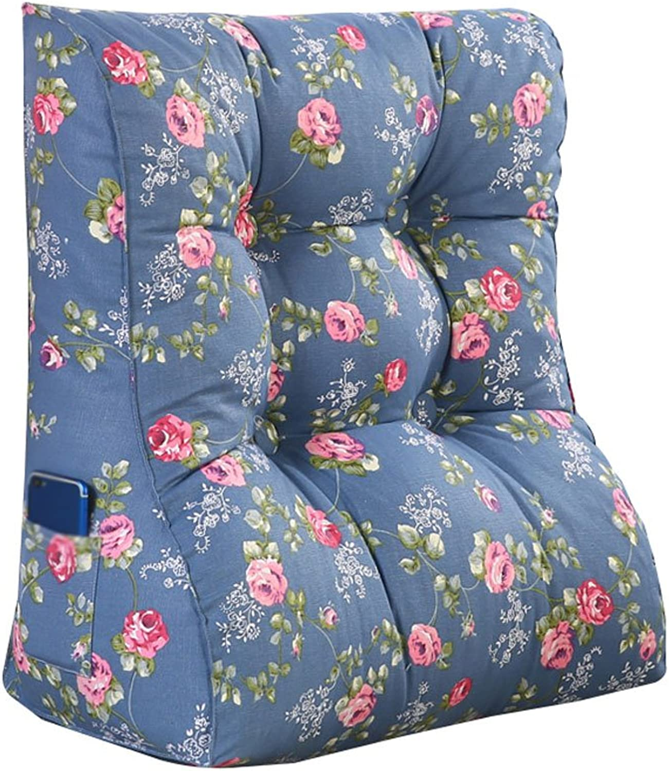 DDSS Bed cushion Bedside Bed Triangle Cushion PP Cotton Pillow Backrest Lumbar Pillow Predection Waist Neck Guard Sofa Back bluee Washable  -  (Size   45cm30cm55cm)