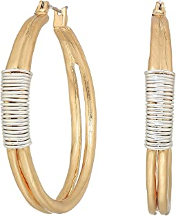 Robert Lee Morris Two-Tone Wire Wrap Hoop Earrings