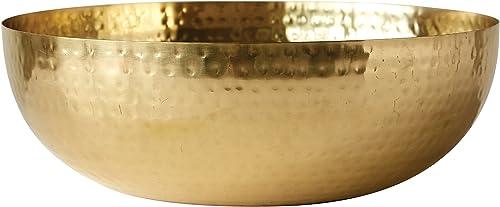 Creative Co-Op - tazón redondo de metal martillado, Dorado, Gold, 1
