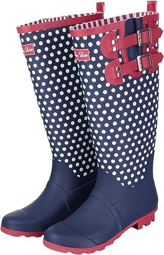 Ruby Shoo Ladies Layla Navy blanc Polka Dot Spots Wellies bottes 09204-UK 9 (EU 42)