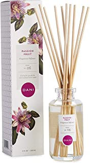 Natural Reed Diffuser Set by DANI Naturals - Juicy Passion Fruit Fragrance - Aromatherapy Essentials Oils - Alcohol Free - 10 Diffuser Sticks - 3.5 Ounce Glass Bottle
