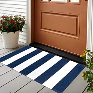 Striped Outdoor Rug, 2'x3' Blue/White Cotton Front Porch Entrance Doormat Woven Reversible Welcome Mat Washable Doorway Ca...