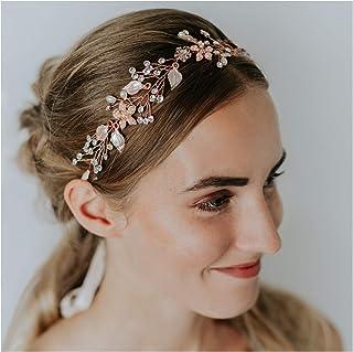 SWEETV. Diadema tiara bohemia para novia con perlas de cristal Accesorios de peinado, diseño flor de la vid