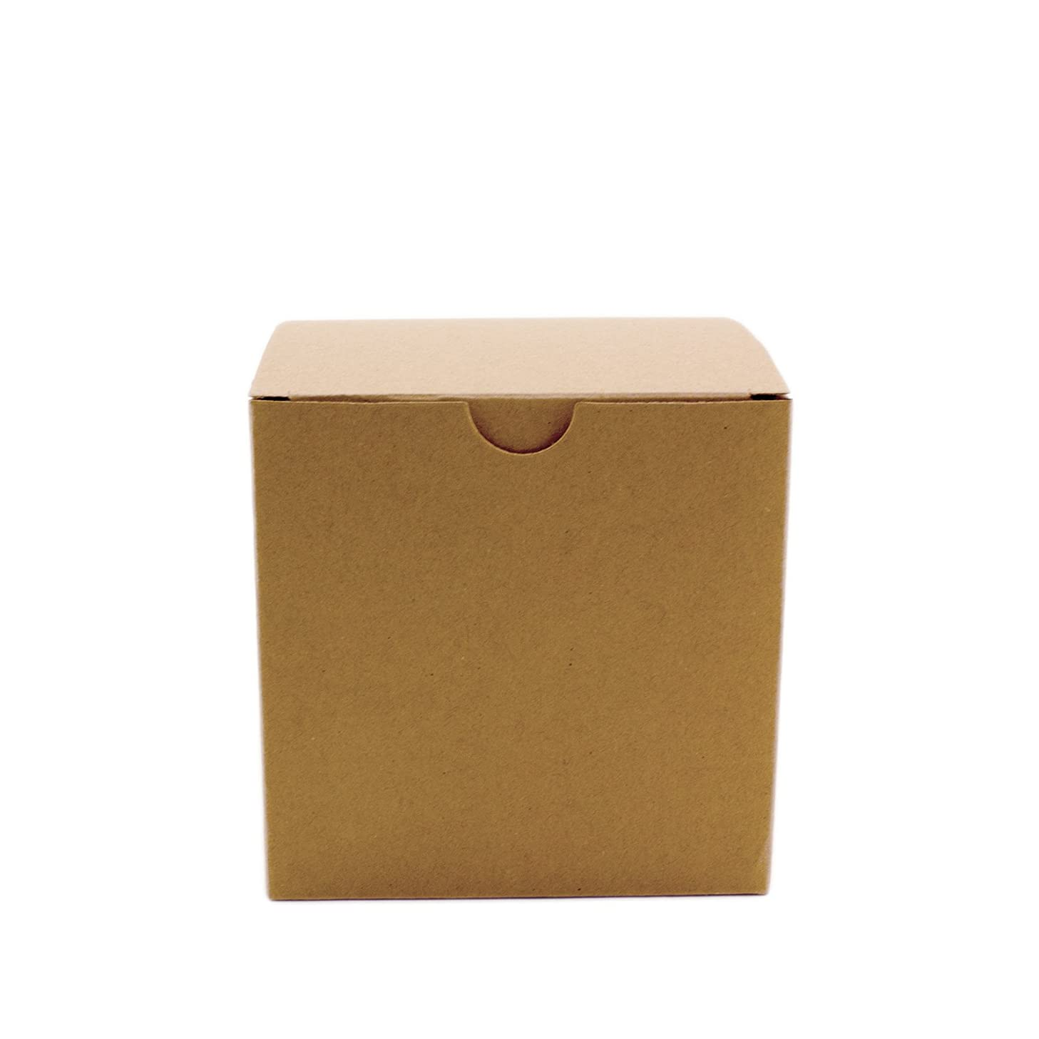 Adorox 50 Pack 4 x 4 x 4 Kraft Boxes Cardboard Gift Box with Lids for Wedding Birthday Holiday Baby Shower Favor (Brown, 4 X 4 X 4)