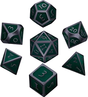 Hestya 7 Pieces Metal Dices Set DND Game Polyhedral Solid Metal D&D Dice Set with Storage Bag and Zinc Alloy with Enamel for Role Playing Game Dungeons and Dragons, Math Teaching Black Edge Green