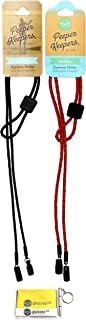 Peeper Keepers Braided Leather Adjustable Eyeglass Retainer, Black and Red, 2 pack mix, w/Cloth & Screwdriver