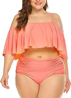 382430a22b IN VOLAND Women Plus Size Two Piece High Waisted Bikini Ruffled Flounce Top  Bathing Suits