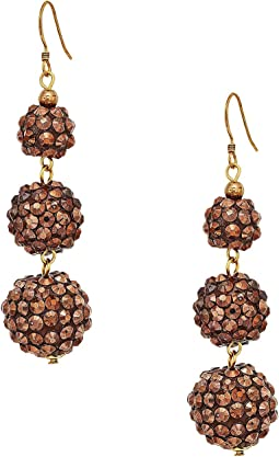 Kenneth Jay Lane Bronze 3 Ball Drop Fishhook Earrings