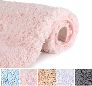 Bathroom Rugs Microfiber Plush Bath Mat Machine Washable, Slip Resistance Rubber and Absorbency Bath Rugs for Bathroom Floor, Door and Sink, Rectangular Floor Mat,Light Pink,32