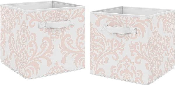 Sweet Jojo Designs Blush Pink And White Damask Organizer Storage Bins For Amelia Collection Set Of 2