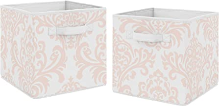 Sweet Jojo Designs Blush Pink and White Damask Organizer Storage Bins for Amelia Collection - Set of 2