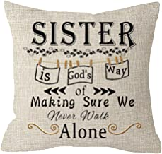 NIDITW Great Gift to Sister Friend Sister is God's Way of Making Sure We Never Walk Alone Waist Lumbar Cotton Linen Cushion Cover Pillow Case Cover Home Chair Couch Decor Square 18 inches