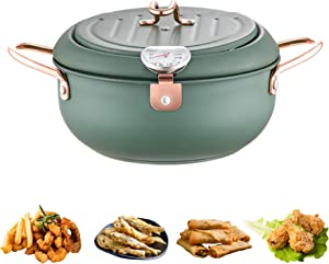 AOPARTS Deep Fryers, Tempura Deep Fryer Pot, 3.4 Liter 304 Stainless Steel Deep Frying Pot, with Thermometer and Oil Drip Drainer Rack, Compatible with Types of Fire Sources(Green)