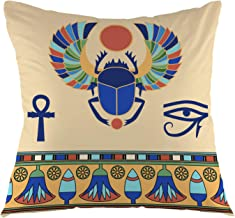 oFloral Scarab Pillowcase,Egyptian Icons Egypt Ethnic Ancient Beetle Cairo Pharaoh Symbol Throw Pillow Cover Square Cushion Case for Sofa Couch Car Bedroom Living Room Home Decorative 18 x 18