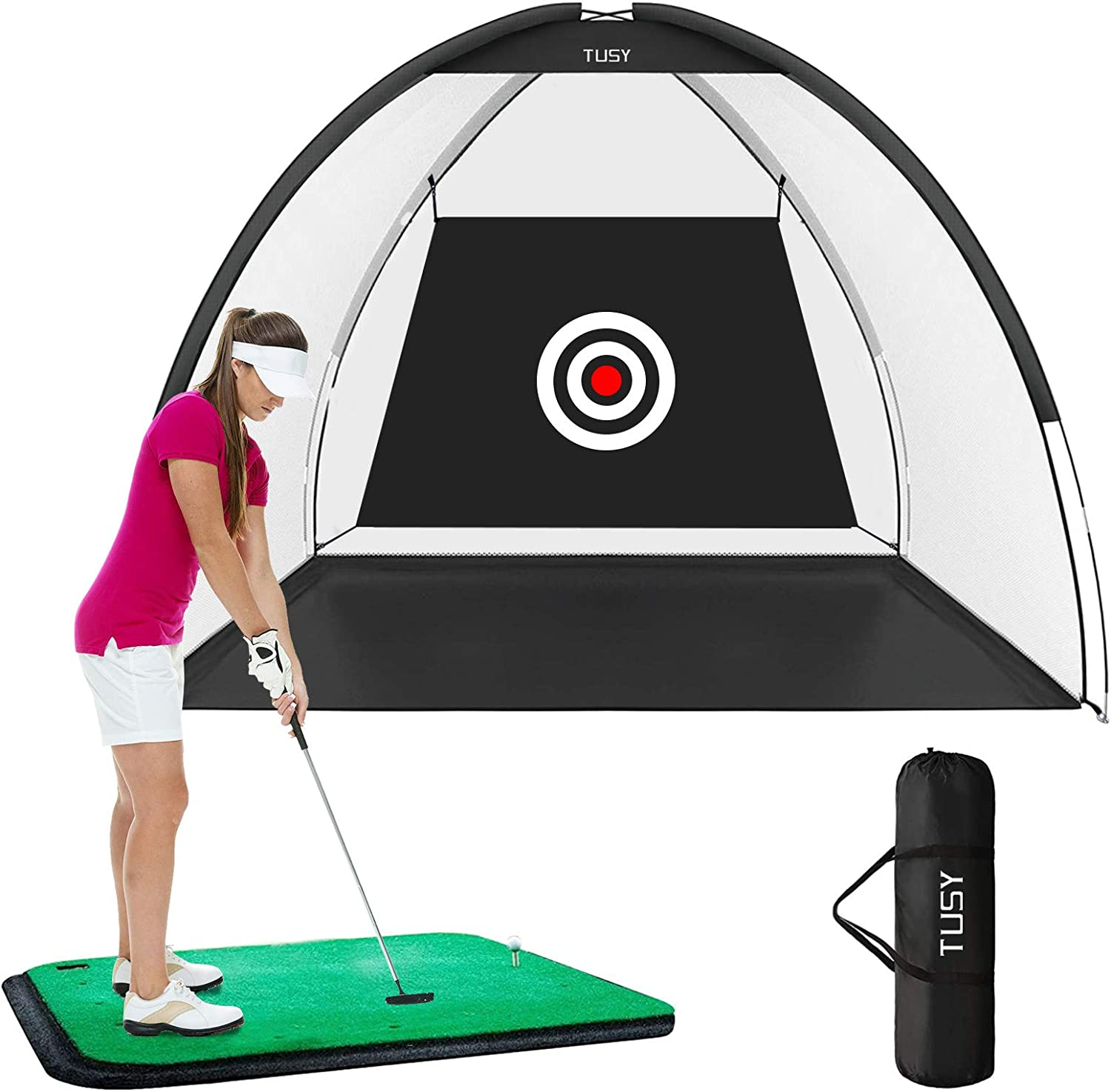 TUSY Golf Net Golf Hitting Nets Training Aids Golf Nets for Backyard Driving Range Chipping Practice with Target Sheet Carry Bag for Indoor & Outdoor Sports : Sports & Outdoors