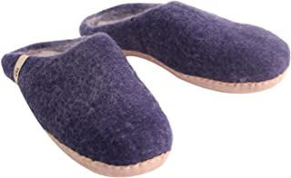 Egos Copenhagen House Slippers for Women Man Kids|Slip On Bedroom Slippers | 100% Sheep Natural Wool Handmade Anti-Skid Leather Sole Blue Size: 6 Wide