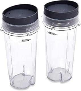 Ninja Single Serve 16-Ounce Cups Set by Preferred Parts | Comparable with Nutri Ninja BL770 BL780 BL660 Professional Blender (Pack of 2)