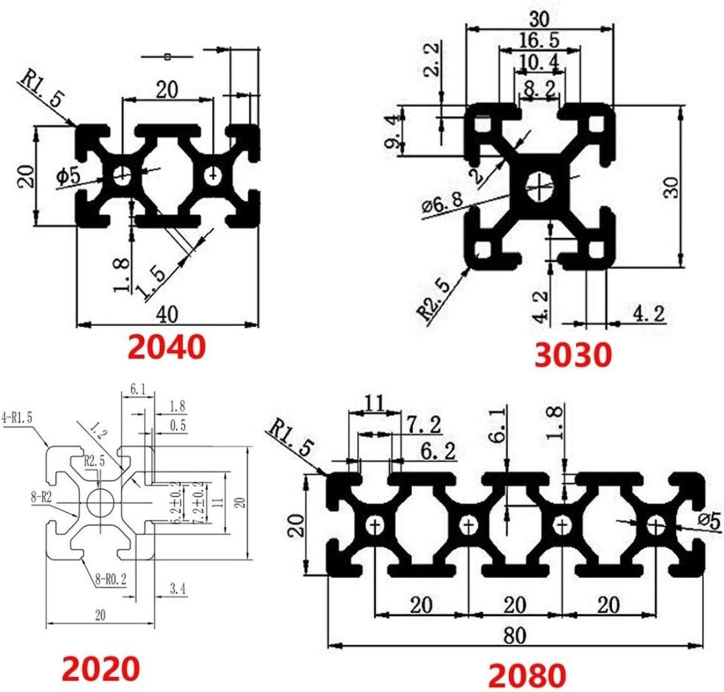 Aluminum Profile 2040 Extrusion 2040 CNC Part Size : 100 mm Aluminum Profile Anodized Linear Rail 3D Printer Parts Length 100mm~800mm AIGUO Aluminum Profile