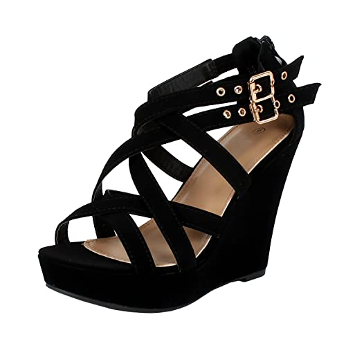 131d27eb5a9fb Black Strappy Wedge Heels: Amazon.com