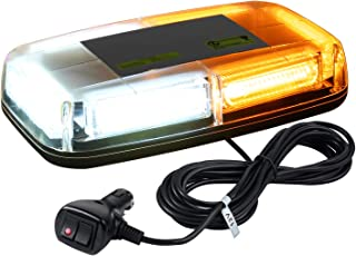 WoneNice 12V Amber COB LED Car Roof Emergency Strobe Warning Light with Double Switch 5M Cigarette Lighter Cable 7 Flash Modes for Cars Truck SUV,1 Year Warranty