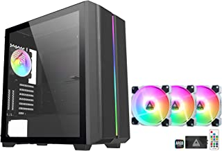 Montech Sky One Black High-Airflow ATX Mid Tower Computer Case with Z3 PRO ARGB PWM 3 Pack Fan