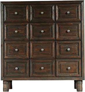 CDI Furniture The Sand Collection Antique Pine Wood Chest with 12 Drawers, Dark Brown