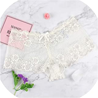 Women Sexy Transparent Full Lace Panties Water Soluble Trunk Gauze Underwear Low Waist Women's Briefs,Wp69 White,5XL