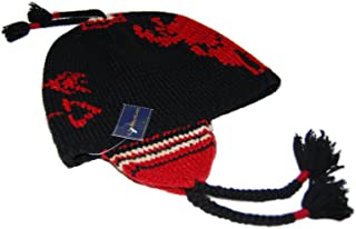Polo Mens Western Indian Linen Wool Skull Knit Hat Cap Black Red