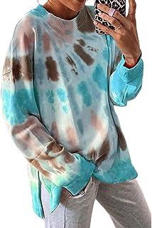 Hong Yi Fei-Shop Women's Tie Dye Printed Sweatshirt Long Sleeve Casual Pullover Tops Tunic Tee Polos