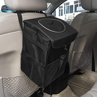 Shopster12L Waterproof Garbage Rubbish Foldable Trash Black Tidy Bag with Lid and Side Net Pocket, Leak Proof Hanging Box Can for Car/SUV/Truck/Minivan/Automobiles