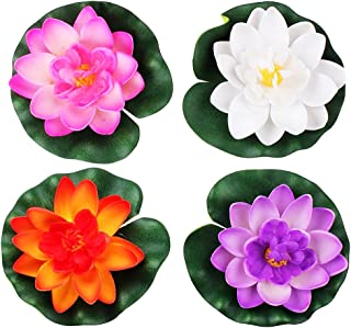 LEFV™ Floating Flowers Pond Decor Water Lily Lotus Foam Artificial Flower for Garden Pool Home Aquarium Weddings Holidays, Small (Set of 4)