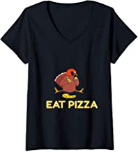 Womens Funny Eat pizza turkey Thanksgiving vegan tee for kids men V-Neck T-Shirt