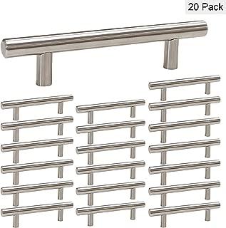 homdiy Kitchen Cabinet Handles Brushed Nickel 20 Pack 3.5in Hole Center Modern Cabinet Pulls - HD201SN Brushed Nickel Cabinet Hardware Pulls Metal Drawer Pulls for Bathroom, Kitchen, Closet, Wardrobe