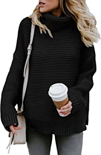 Womens Turtleneck Long Sleeve Chunky Knit Pullover Sweater Tops