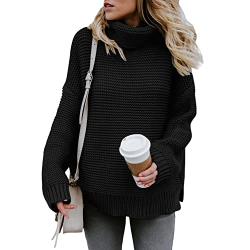 ecbbc42ae1 ZKESS Womens Casual Long Sleeve Turtleneck Knit Pullover Sweater