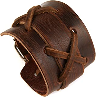 HZMAN Authentic Wide Genuine Leather Casual Mens Brown Cuff Bangle Bracelet